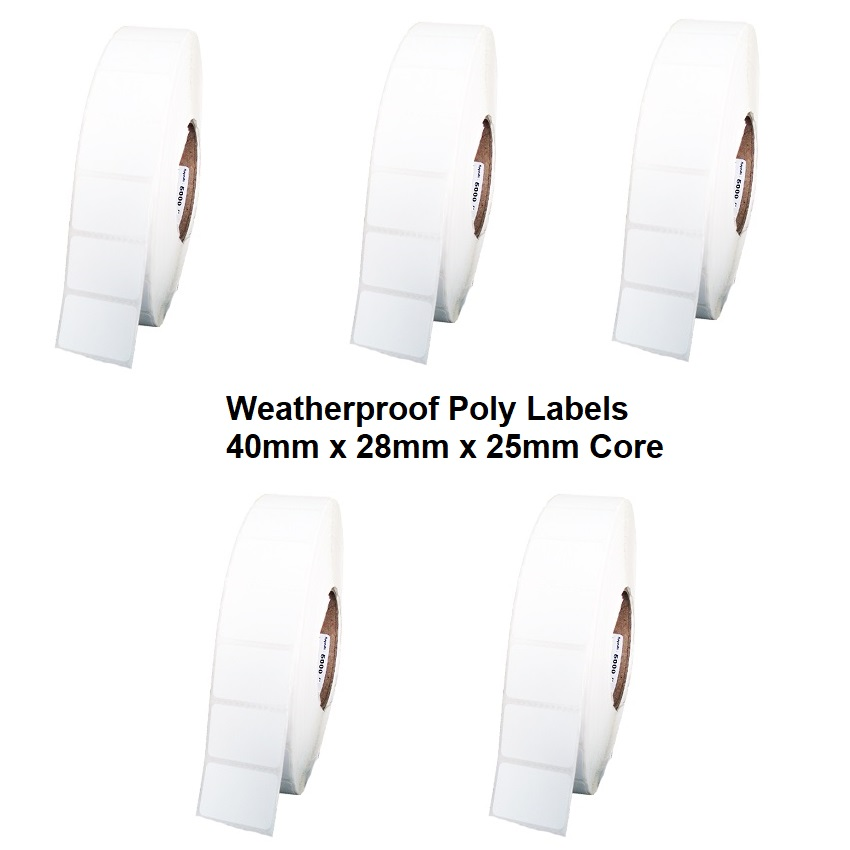View Plain 40x28 Poly Weatherproof Thermal Transfer Labels 5 Pack
