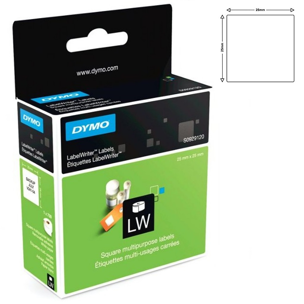 View Dymo S0929120 25x25 Multi Purpose labels